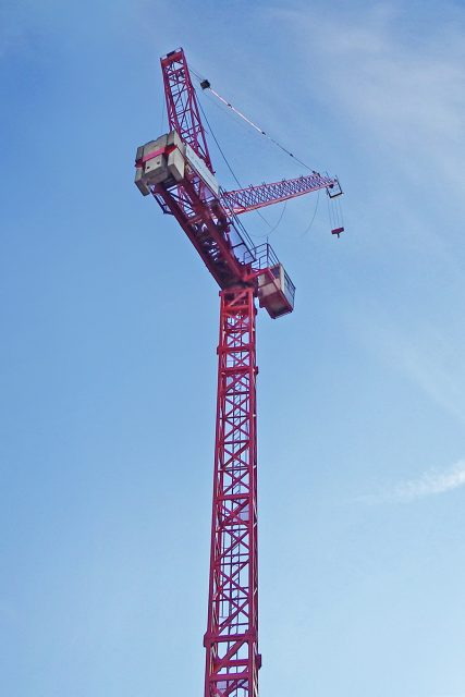 Raimondi Cranes LR60 onsite at Great Scotland Yard placed by agent Bennetts Cranes Limited