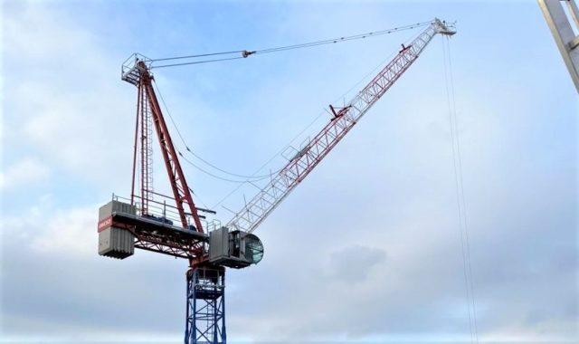 Tallest freestanding luffing jib crane in operation in the UK reaches final height